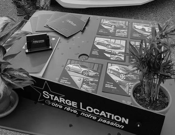 Page de Contact de starge location, l'entreprise de location de véhicules de luxe pour vos événements